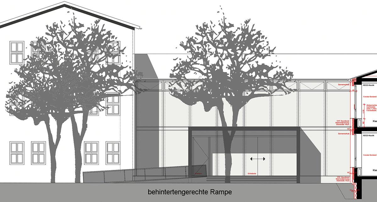 Eingang der Heinrich-Braun-Grundschule wird barrierefrei.